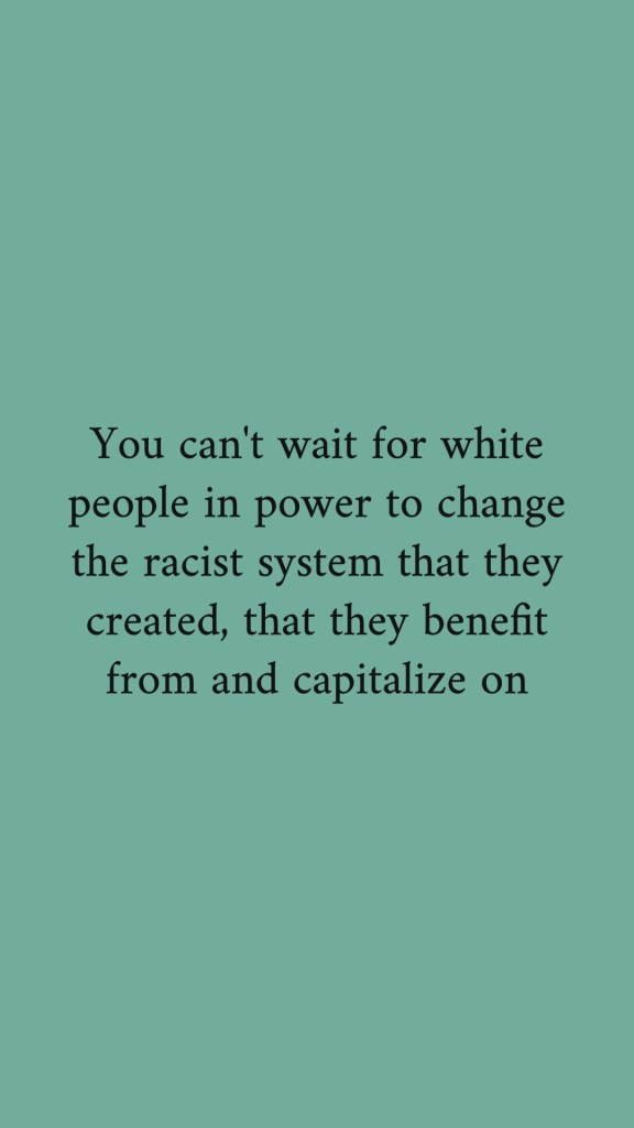 you_can't_wait_for_white_people_in_power_to_change_the_racist_system_they_created_and_benefit_from_and_capitalise_on